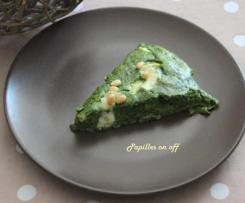 Clafoutis épinards, chèvre frais et pignons