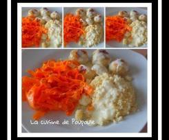 Boulettes de poulet, sauce au chèvre, tagliatelles de carottes
