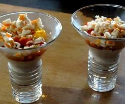 Verrine thon, tomate, surimi