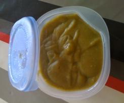 Purée PDT, carottes, épinards, rôti porc