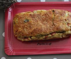 Cake poivrons grillés, fêta et olives noires