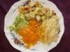 Colin mariné/tagliatelles de légumes/velouté et sauce onctueuse au curry