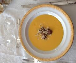 Velouté de cucurbitacés aux chataignes et au foie gras