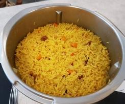 riz jaune boucané de volaille