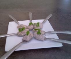 Verrines ou cuillères apéritives aux champignons et au jambon