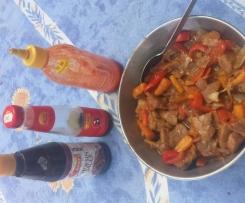 Porc à la chinoise aux légumes sauce piquante