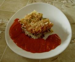 Gratin de courgette, riz et dés de jambon Sauce tomate