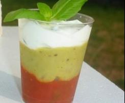 Verrine trio sauces salsa, guacamole et chèvre basilic