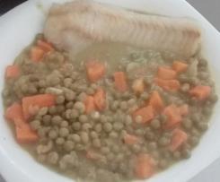 Poisson et curry de petits pois et carottes