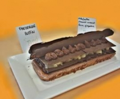millefeuilles chocolat croquant, poires, gingembre