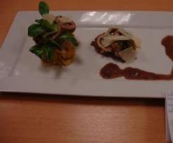Saltimbocca de filet mignon, sauce au beurre rouge et ses légumes oubliés.