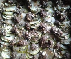 Gratin de courgettes a la mozarella et aux boulettes de viande