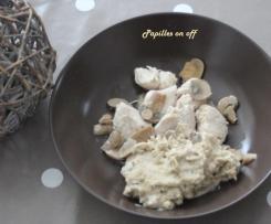 Poêlée de poulet, champignons et purée de châtaignes