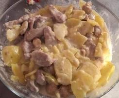 Filet mignon sauce oignon et champignon et pommes de terre