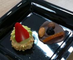 Sablé amande aux fraises et crème pâtissière pistache