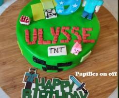 Gâteau Minecraft en pâte à sucre - Allergique à l'oeuf