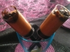 Verrine de mousse de carotte, brisures de cacahuère et nage de poireaux caramélisés