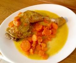 Cuisses de poulet à la moutarde et ses légumes