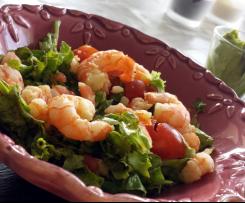 Guacamole en sorbet et salade de crevettes