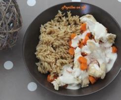 Poulet à la crème et ses carottes