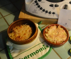Cassolettes de macaronis sur lit de jambon