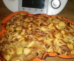 Clafoutis aux pommes et rhubarbe