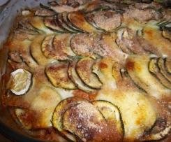 gratin de courgettes à la viande et mozzarella