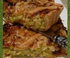 Tarte aux poireaux et saumon