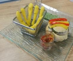 Burger surprise et ses frites catalanes