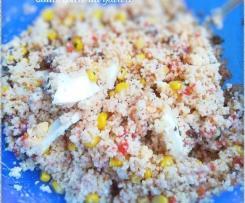 Couscous en salade, sauce épicée au yaourt