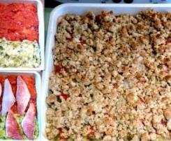 Crumble de rougets, compotée de tomates et fondue de poireaux