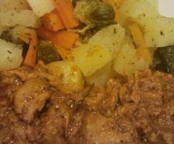 Sautés de porc, pomme de terre et carotte vapeur...très simplement!
