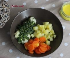 Cabillaud aux épinards et sa garniture, sauce au yaourt au curcuma