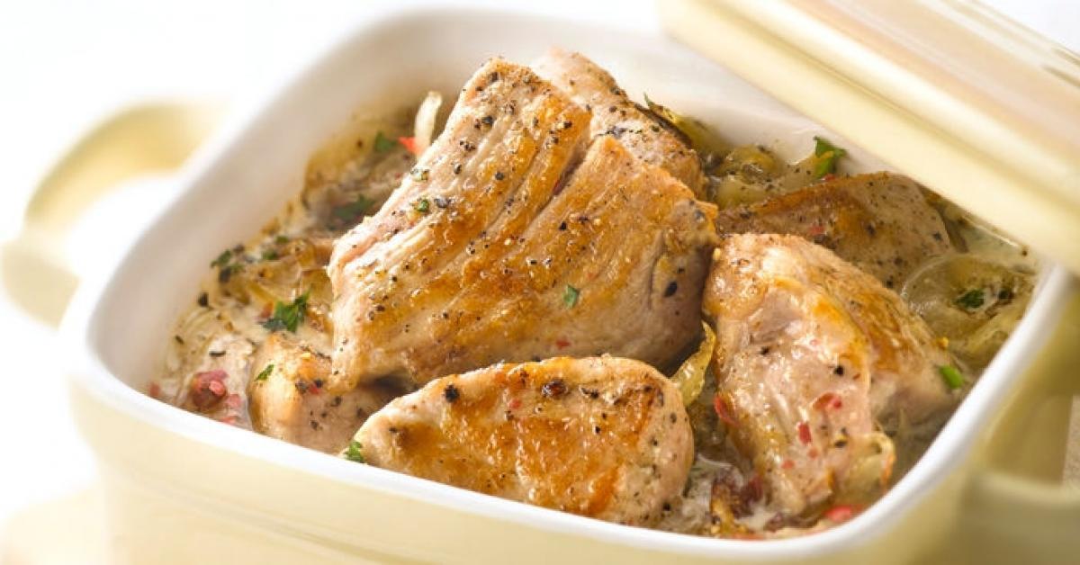 Saut de porc au cidre par lotou une recette de fan retrouver dans la cat gorie viandes sur - Recette echine de porc au four ...