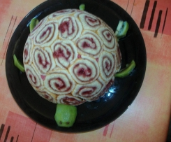 Charlotte en forme de tortue mousse framboise et chocolat blanc