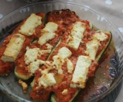 Courgettes farcies aux légumes et à la feta