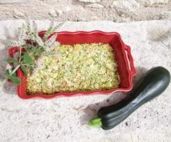 gratin courgette/menthe/fromage de chèvre