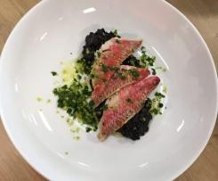 Risotto (nero) à l'encre de seiche,Rouget Barbet et Gremolata