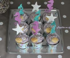 Cupcakes noix de coco framboises  – Sweet Table Anniversaire Sirène