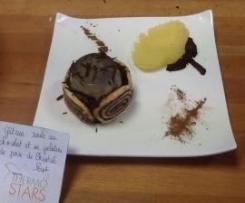 Gateau roulé au chocolat et sa fraîcheur de poires