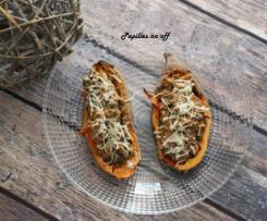 Patates douces aux champignons et chèvre frais