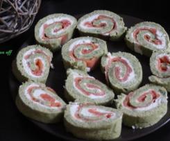 Roulé poireaux, chèvre frais et saumon fumé