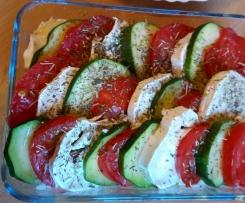 Tian tomates courgettes chèvre