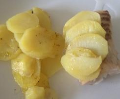 Dos de cabillaud en écailles de pommes de terre