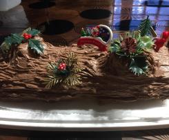 bûche de Noël pistaches, framboises, chocolat