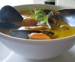 Soupe de citrouille aux moules