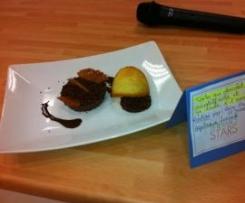 Tarte au chocolat croustillante et sa tuile à l'orange