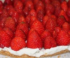 Tarte aux fraises sur fond biscuité