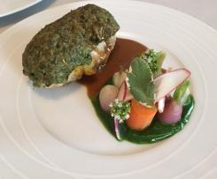 Ballotine de poulet basse température , petit légumes fraîcheur