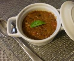 Purée d'aubergines et tomates au basilic